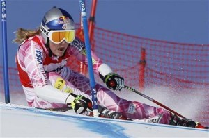 Vonn of the U.S. skis on her way to clock the fastest time in the women's Alpine Skiing World Cup Super G race in St. Moritz